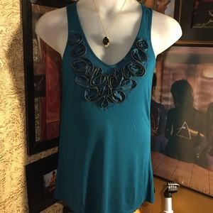 Mossimo (M) teal blouse with zipper embellishment